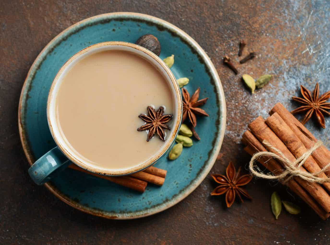 keto chai tea served in an aqua tea cup