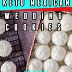 Keto Mexican wedding cookies in a cookie can container