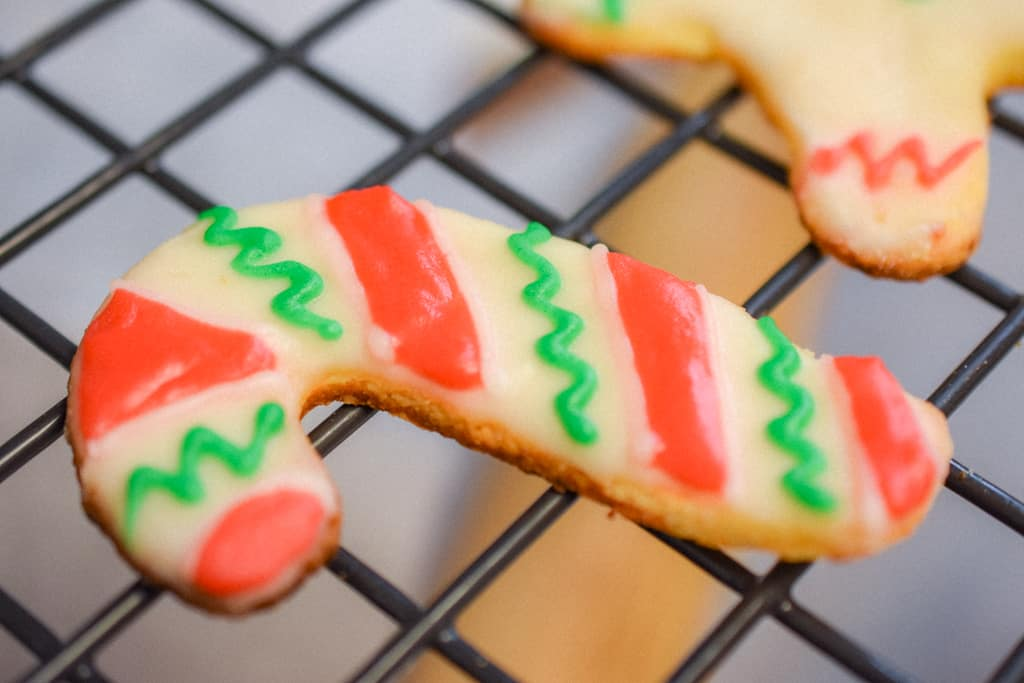 Keto Rolled Sugar Cookies Candy Cane Up Close