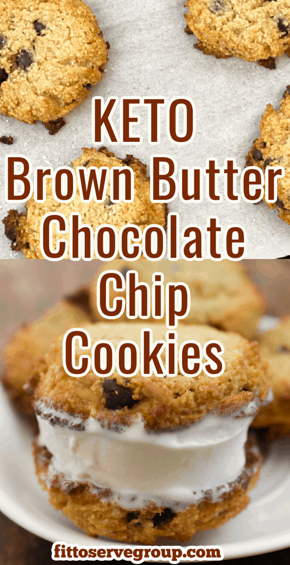 keto brown butter chocolate chip cookies long pin
