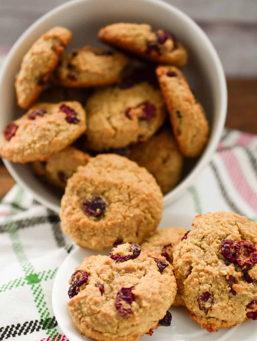 Keto faux oatmeal dried cranberry cookies in a white bowl