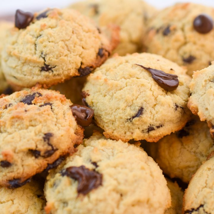 Keto Cream Cheese Chocolate Chip Cookies served