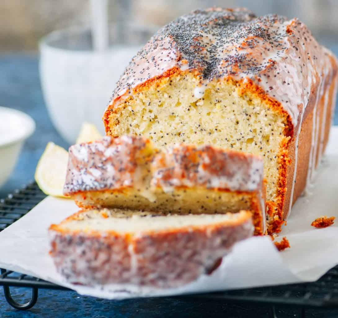 keto lemon poppy seed pound cake sliced and ready to serve