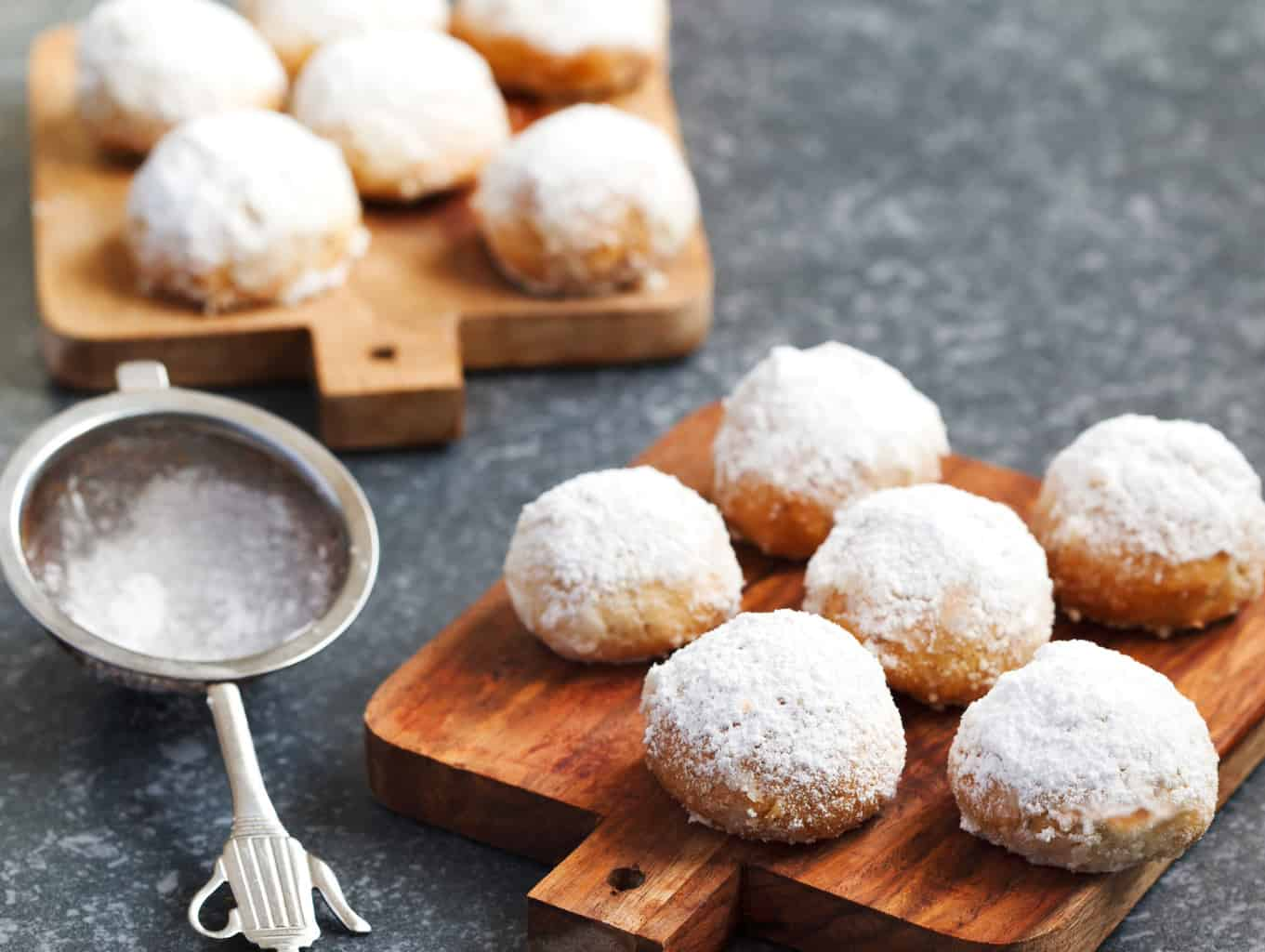 Keto snowball cookies dusted with sugar-free confectioners sugar