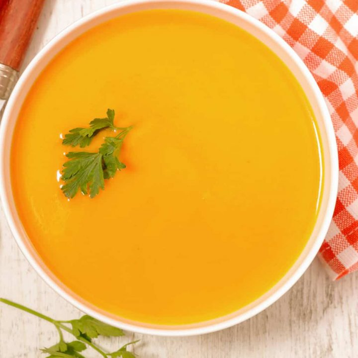 keto carrot soup served in a bowl
