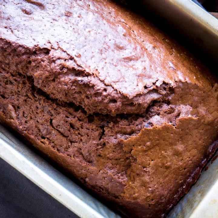 keto chocolate bread inside a baking loaf