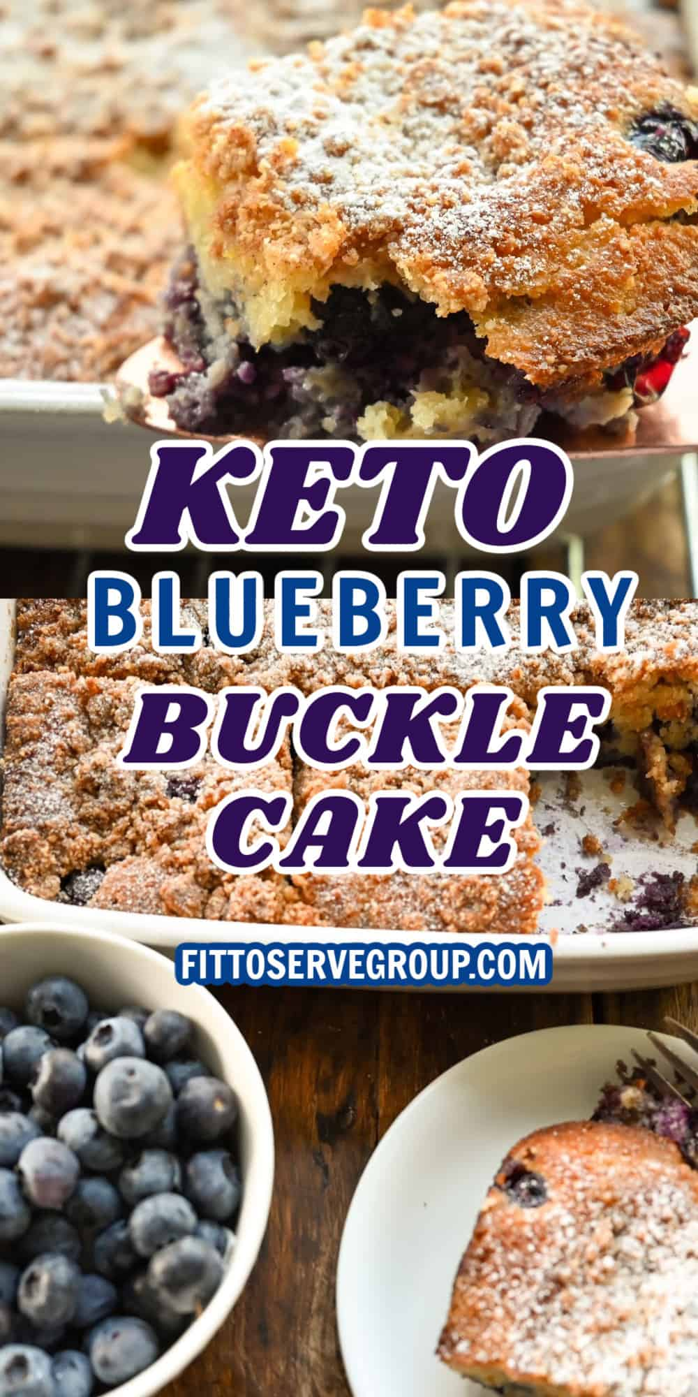 KETO BLUEBERRY BUCKLE CAKE made in a square white baking pan