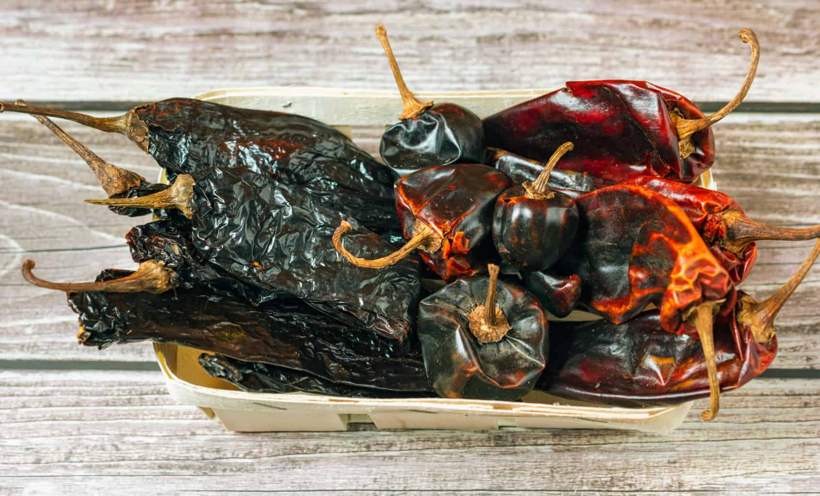 Mexican dried peppers in a basket