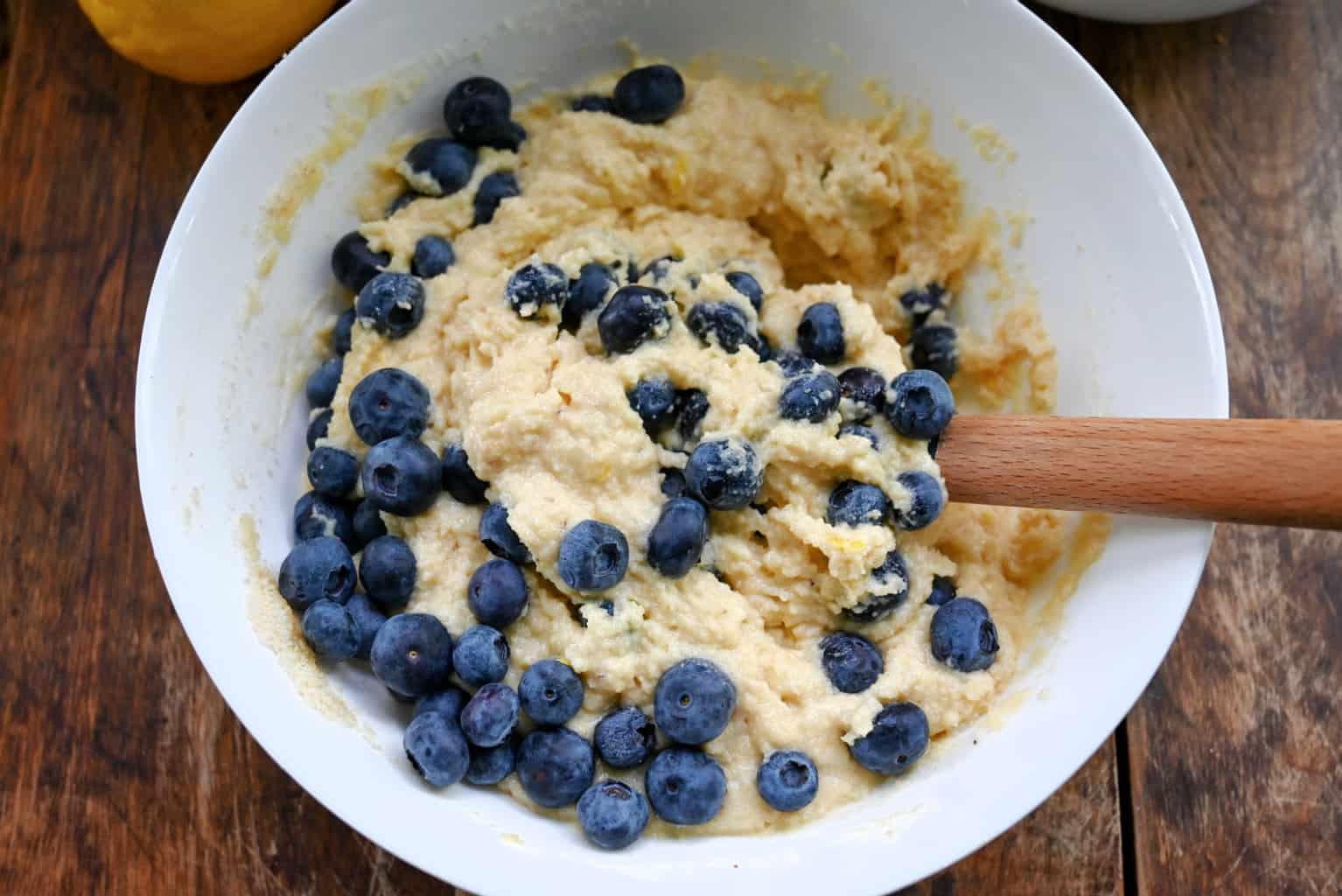 keto blueberry buckle cake batter
