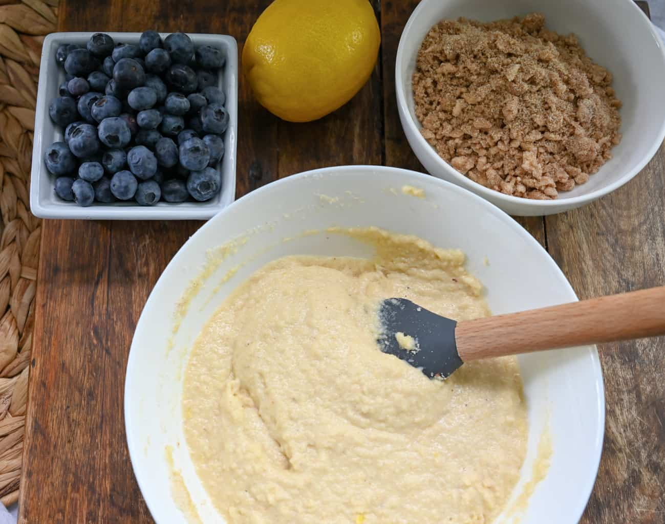 keto blueberry buckle cake being made