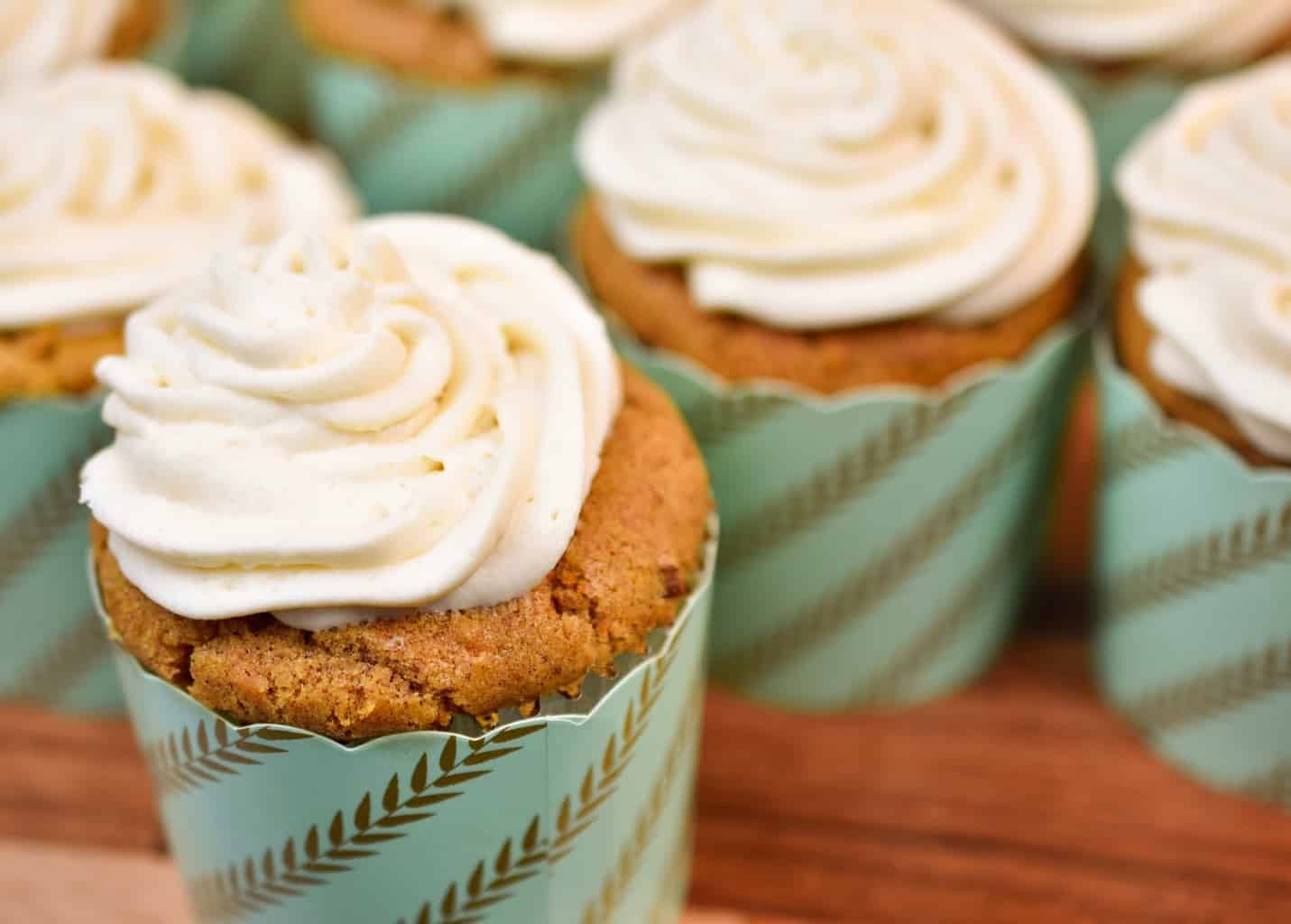 Close up of keto carrot cake cupcakes