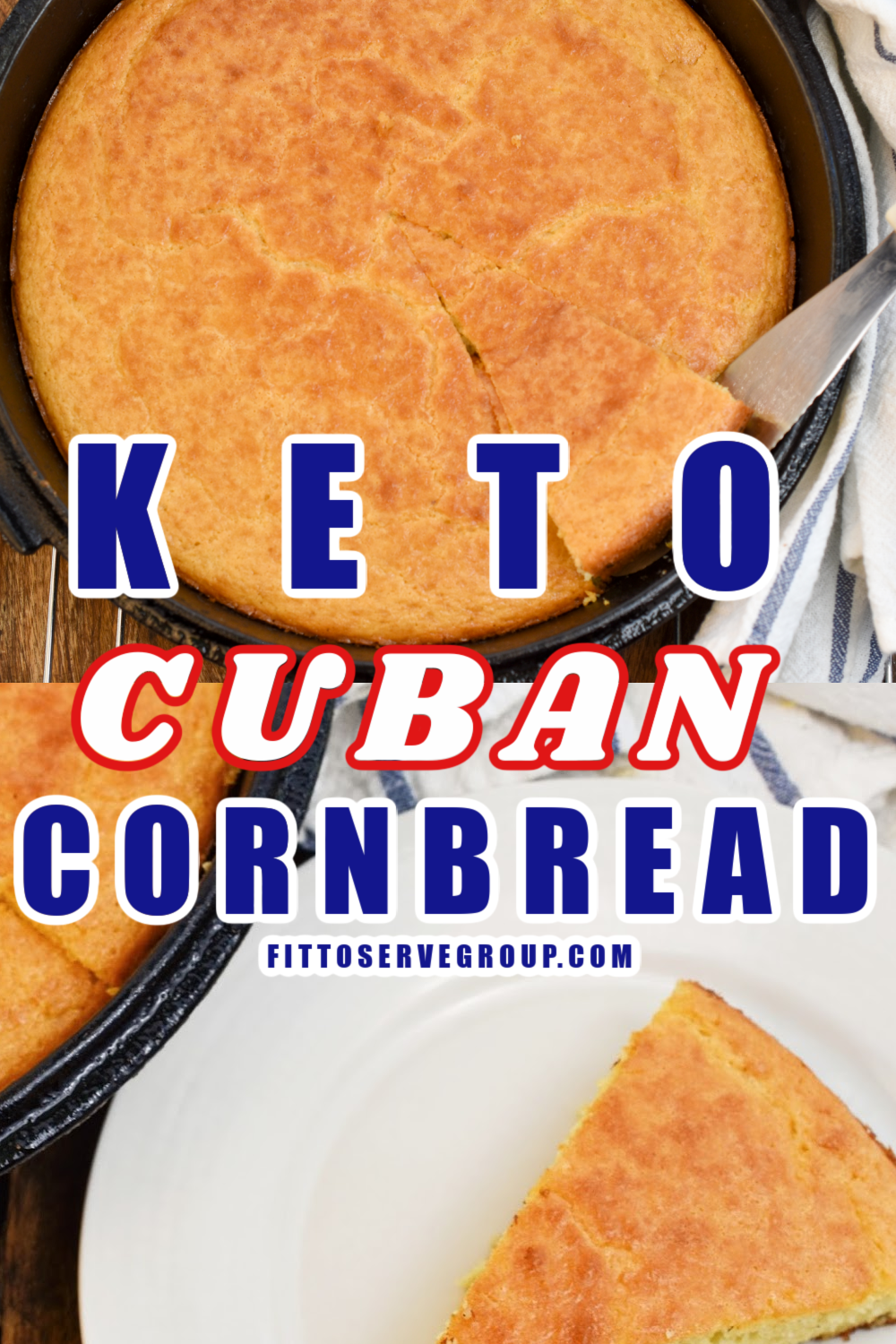 Keto Cuban Cornbread baked in a cast-iron skillet and served on a small white plate