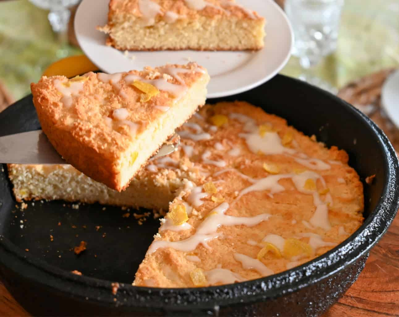 keto lemon scones baked in a cast-iron skillet being served