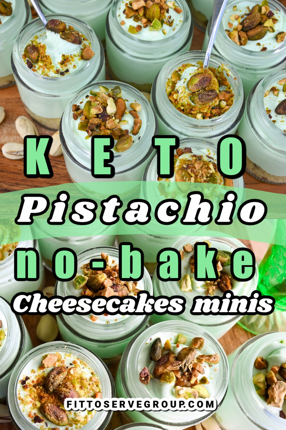 keto pistachio no-bake cheesecake minis long pin