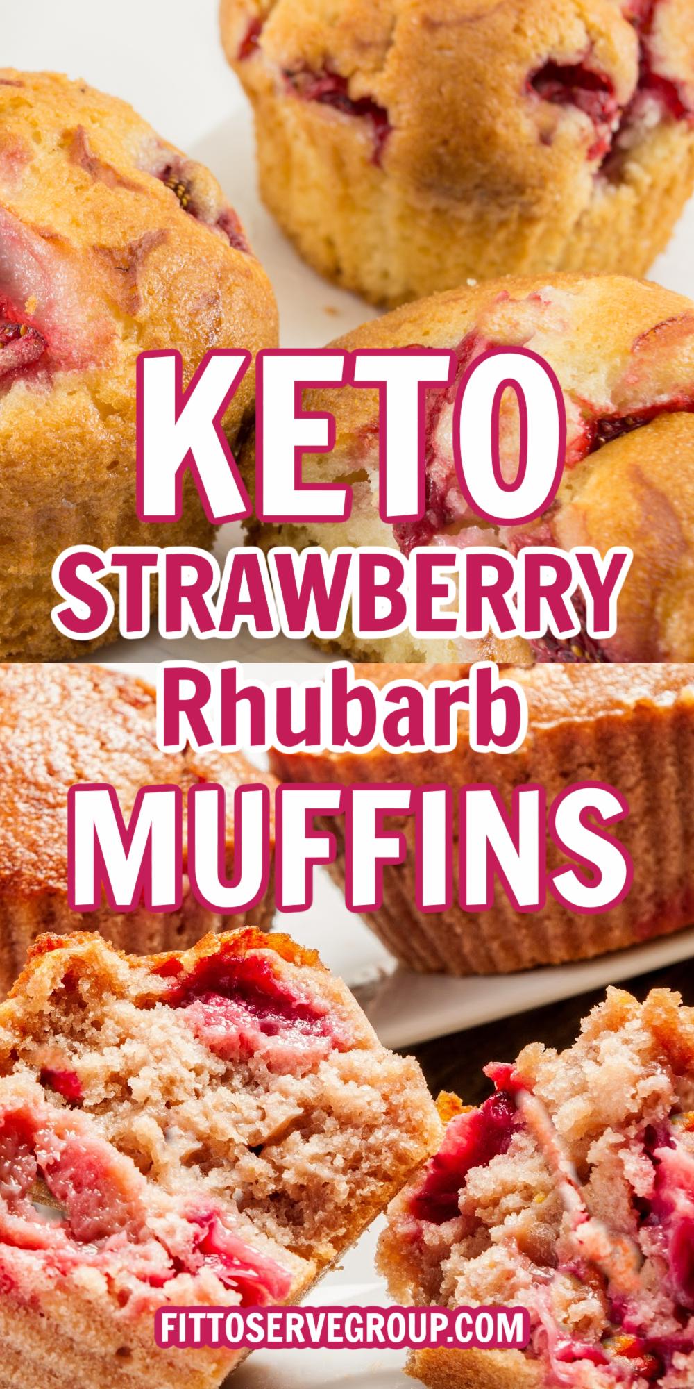 keto strawberry rhubarb muffins long pin