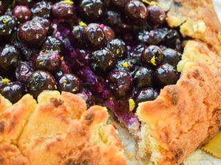 Keto blueberry galette sliced up close