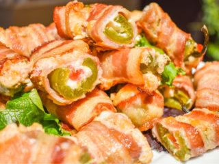 keto bacon jalapeño poppers on a white plate