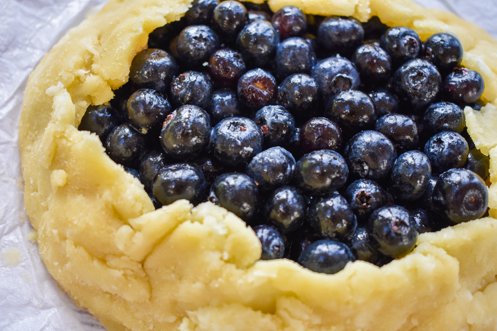 keto blueberry galette before baking up close