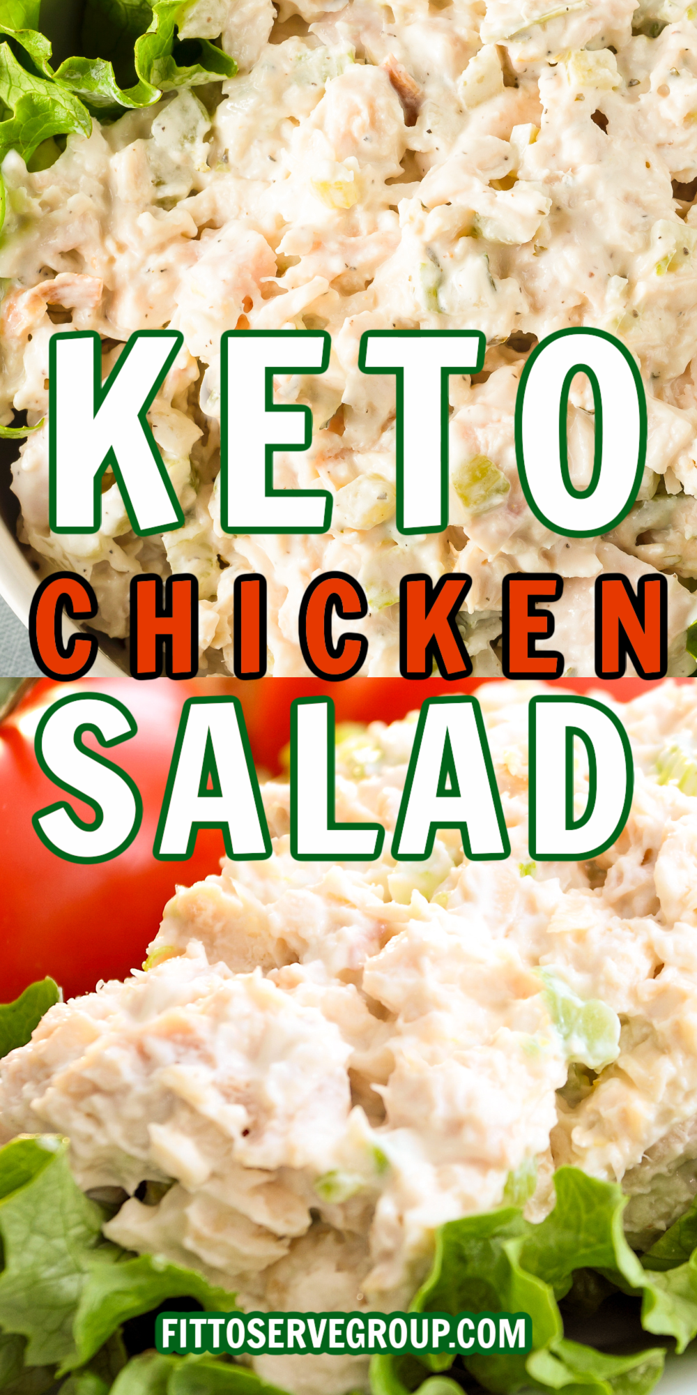 Close up images of keto chicken salad served on bed of romaine lettuce