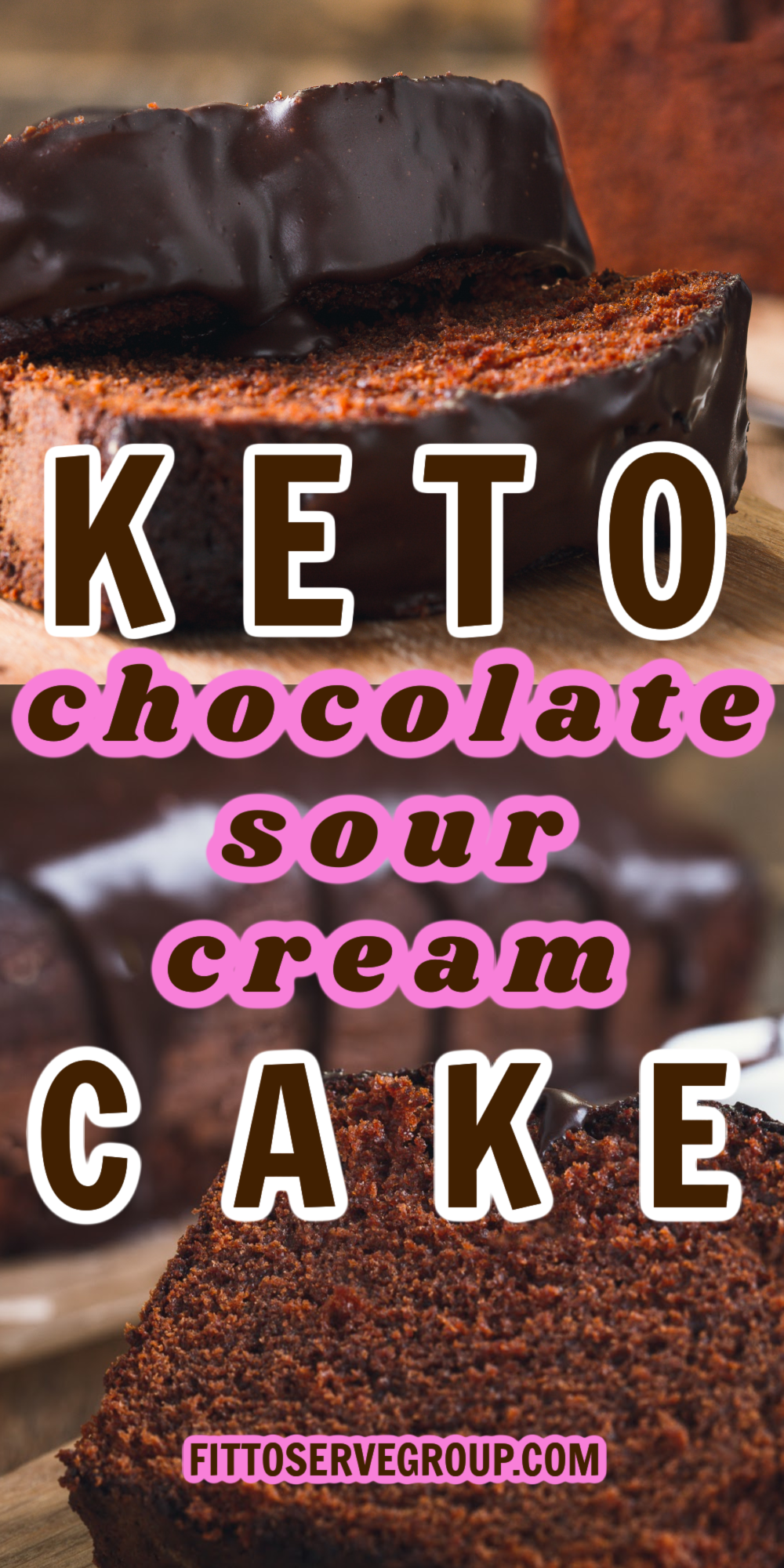 Keto Chocolate Sour Cream Cake slices on a wood board