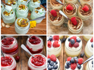 keto mason jar desserts images in a collage