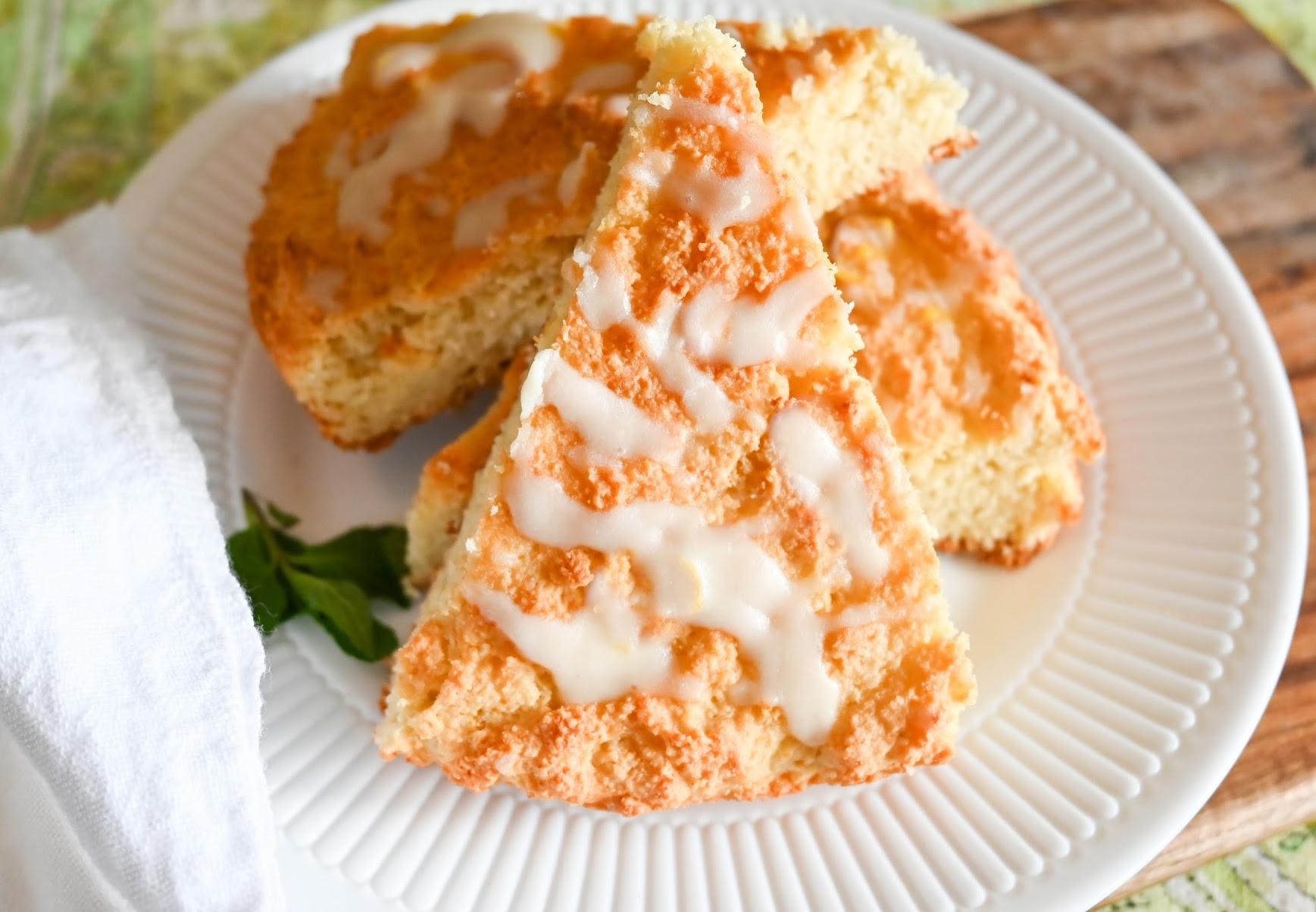 keto vanilla scones slices on a white plate