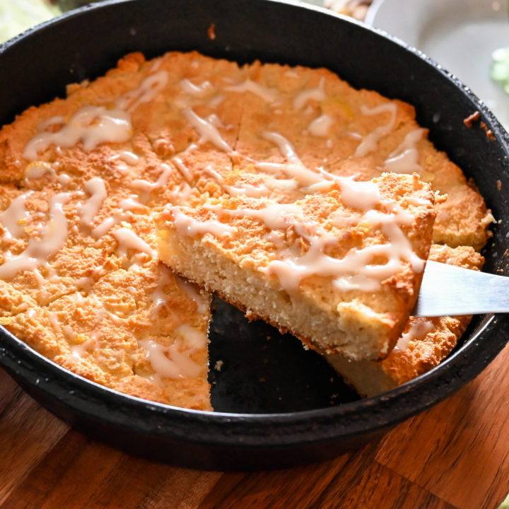 keto vanilla scones baked in a cast iron skillet