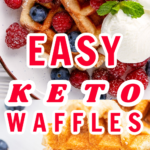 EASY KETO WAFFLES PLATED ON A WHITE PLATE