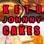 Keto Johnny cakes made in a black skillet and then served stacked on a white plate