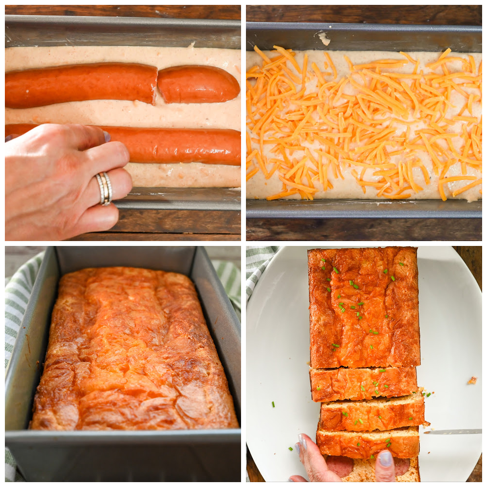 keto kielbasa cornbread process pictures that include the batter with the sausage, with the shredded cheese, baked in a rectangle loaf and sliced on a white plater