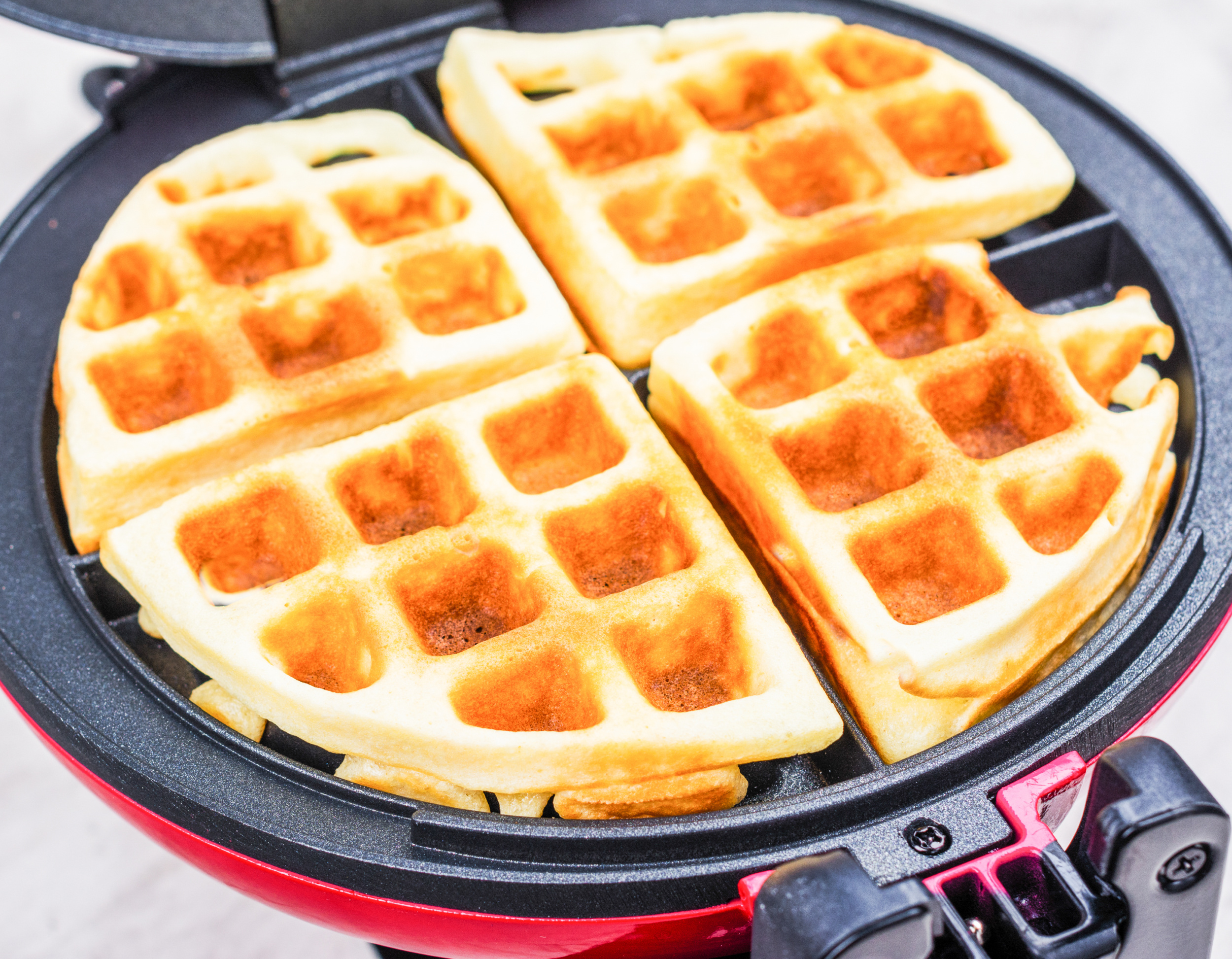 keto waffles made in red waffle iron