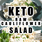 keto raw cauliflower served in a teal plate with a marble background