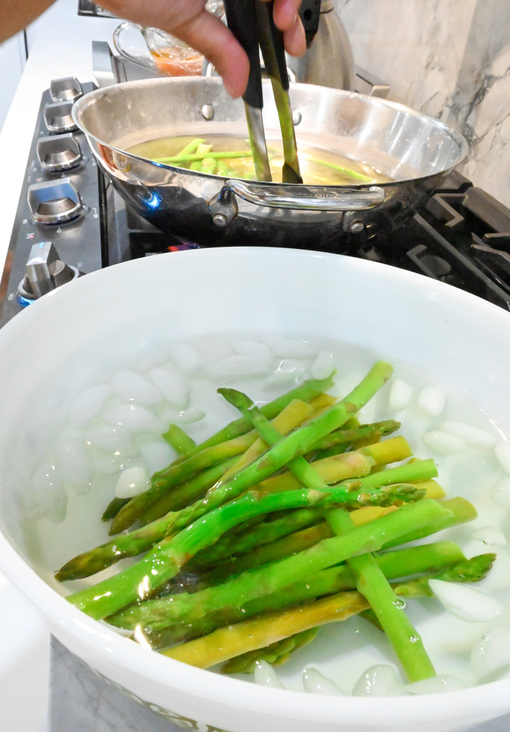 asparagus blanched and added to ice water