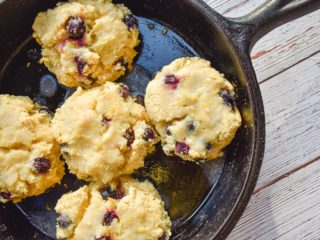 keto bluberry biscuits in cast iron skillet
