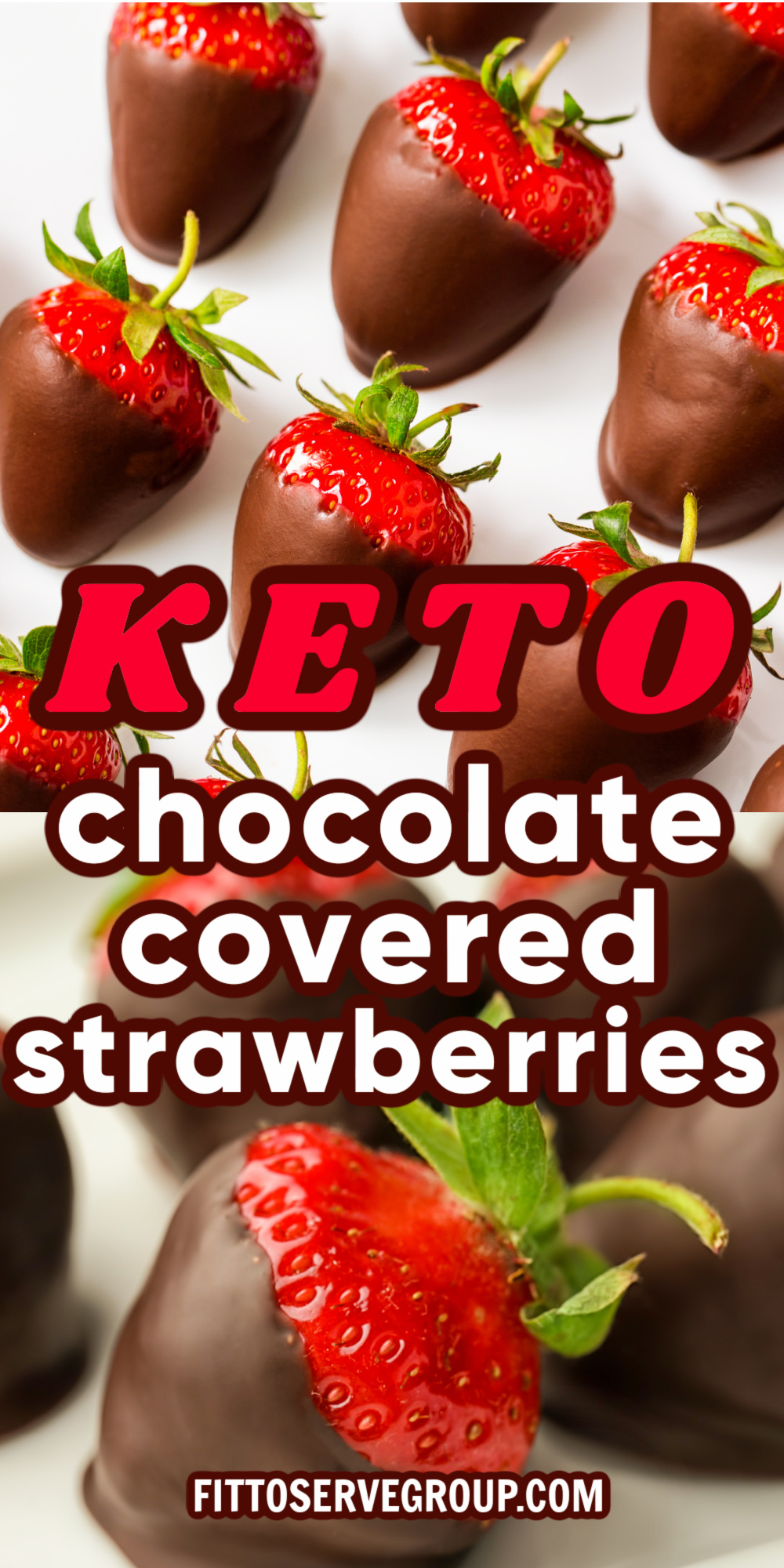 Keto chocolate covered strawberries displayed on a white background