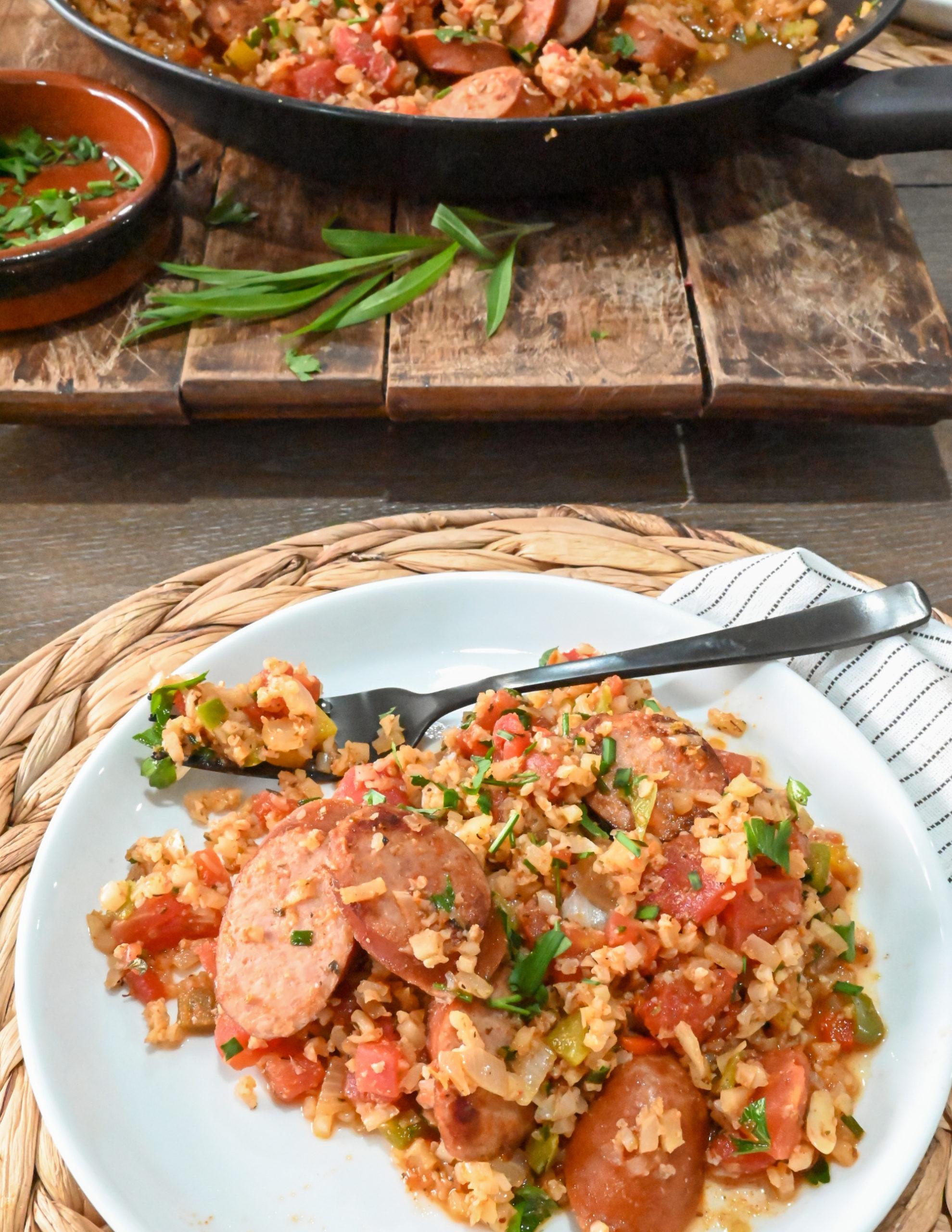 keto Spanish rice and sausage plated