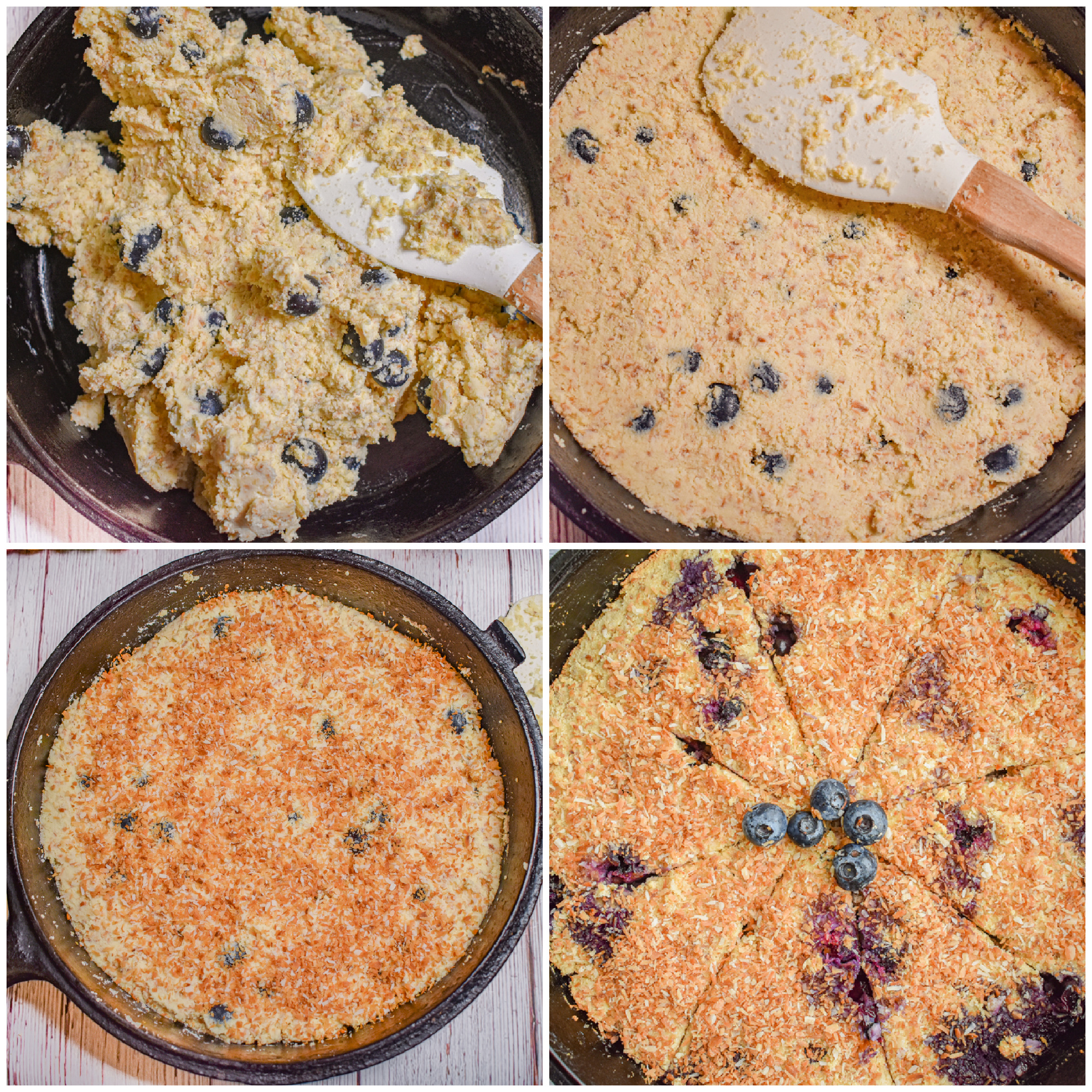 keto blueberry toasted coconut skillet cake process collage