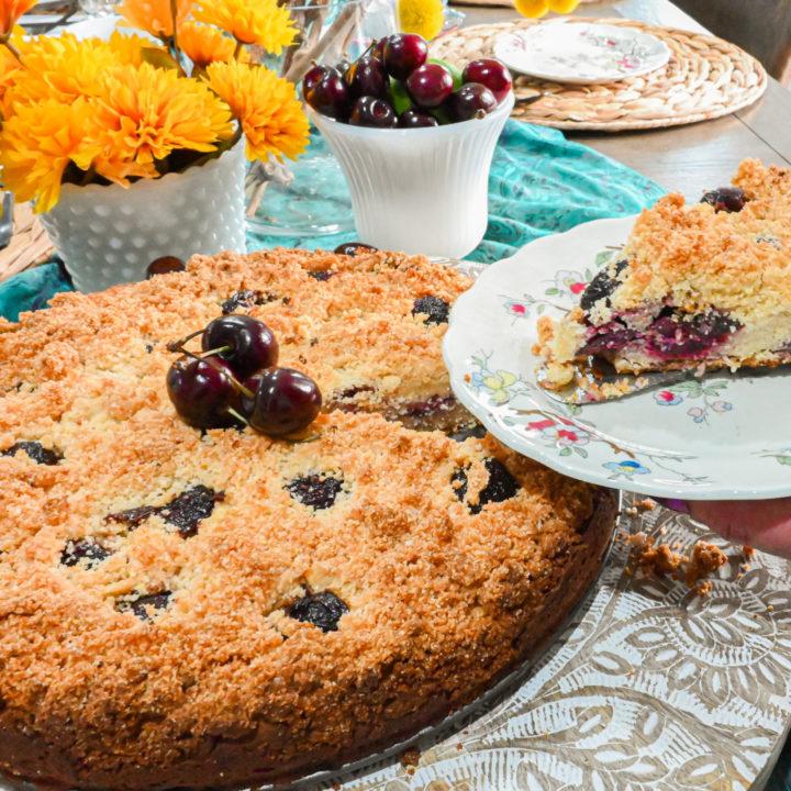 keto cherry coffee cake being served