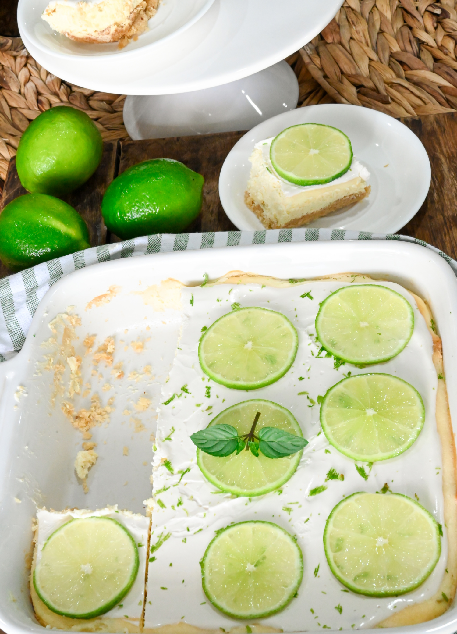 keto lime cheesecake bars with two slices served