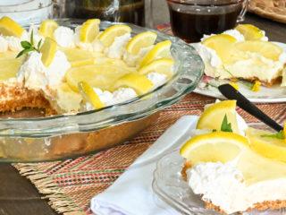 keto sour cream lemon pie sliced and served