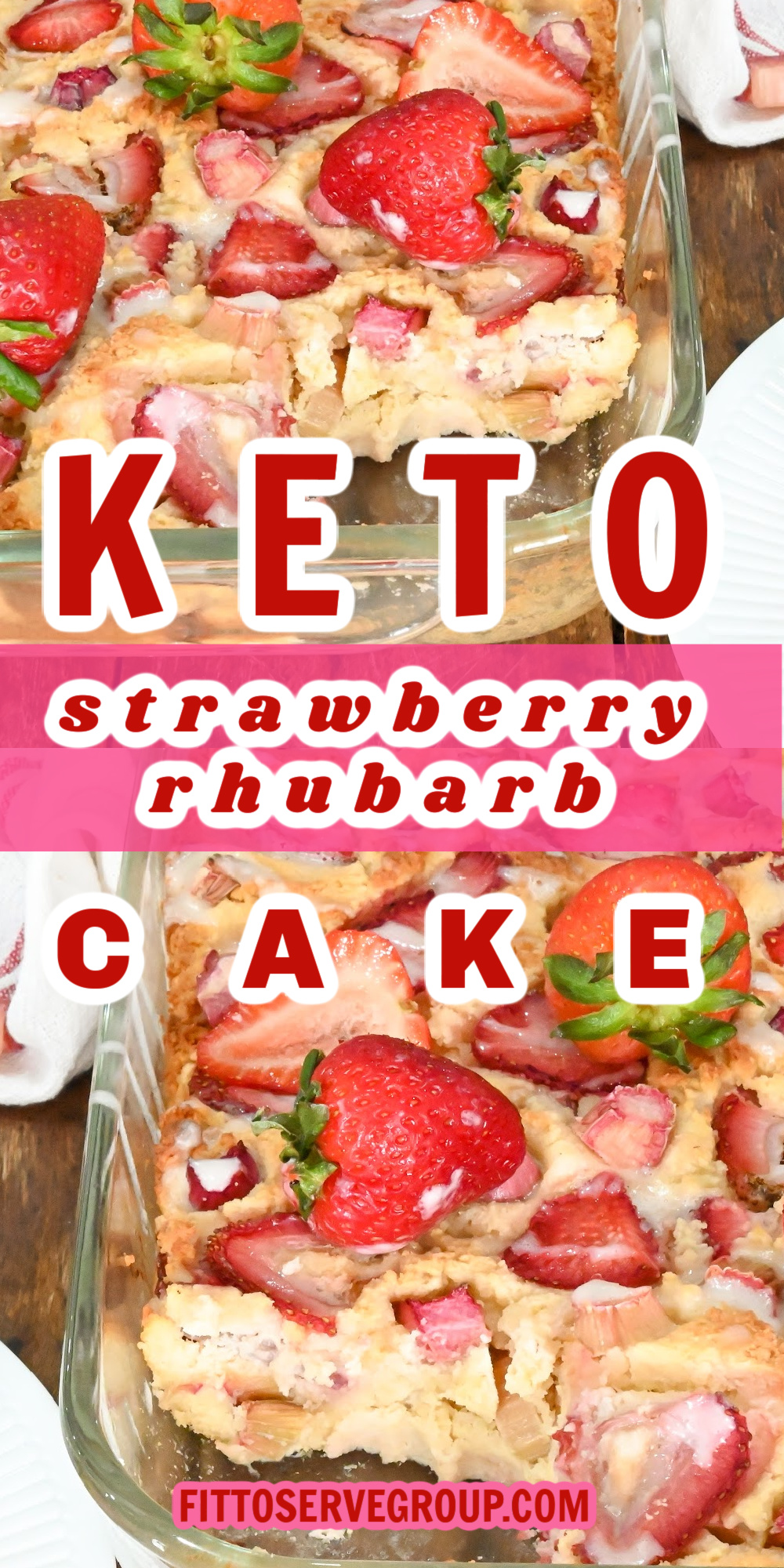 Keto strawberry rhubarb cake