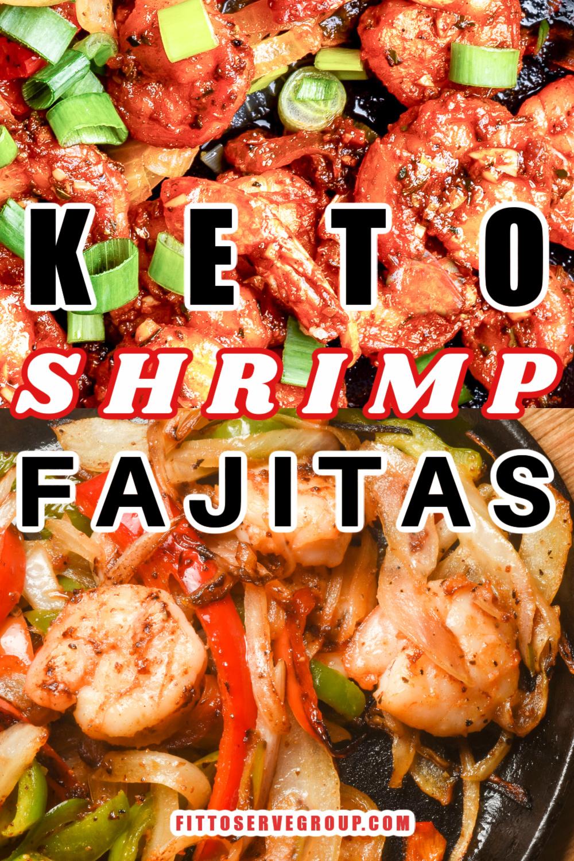 keto shrimp fajitas cooked in a cast-iron skillet