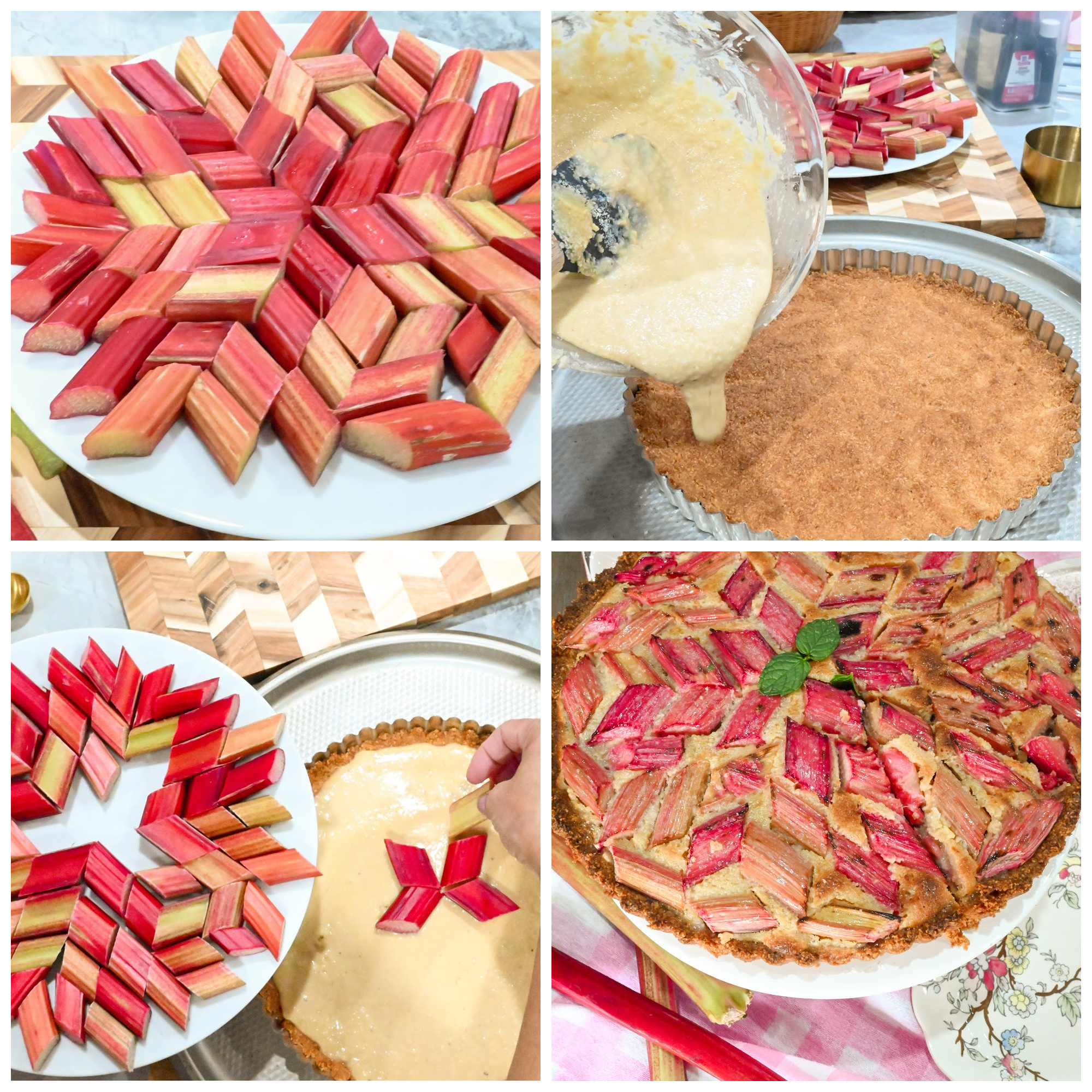 Keto rhubarb tart with frangipane filling process pictures
