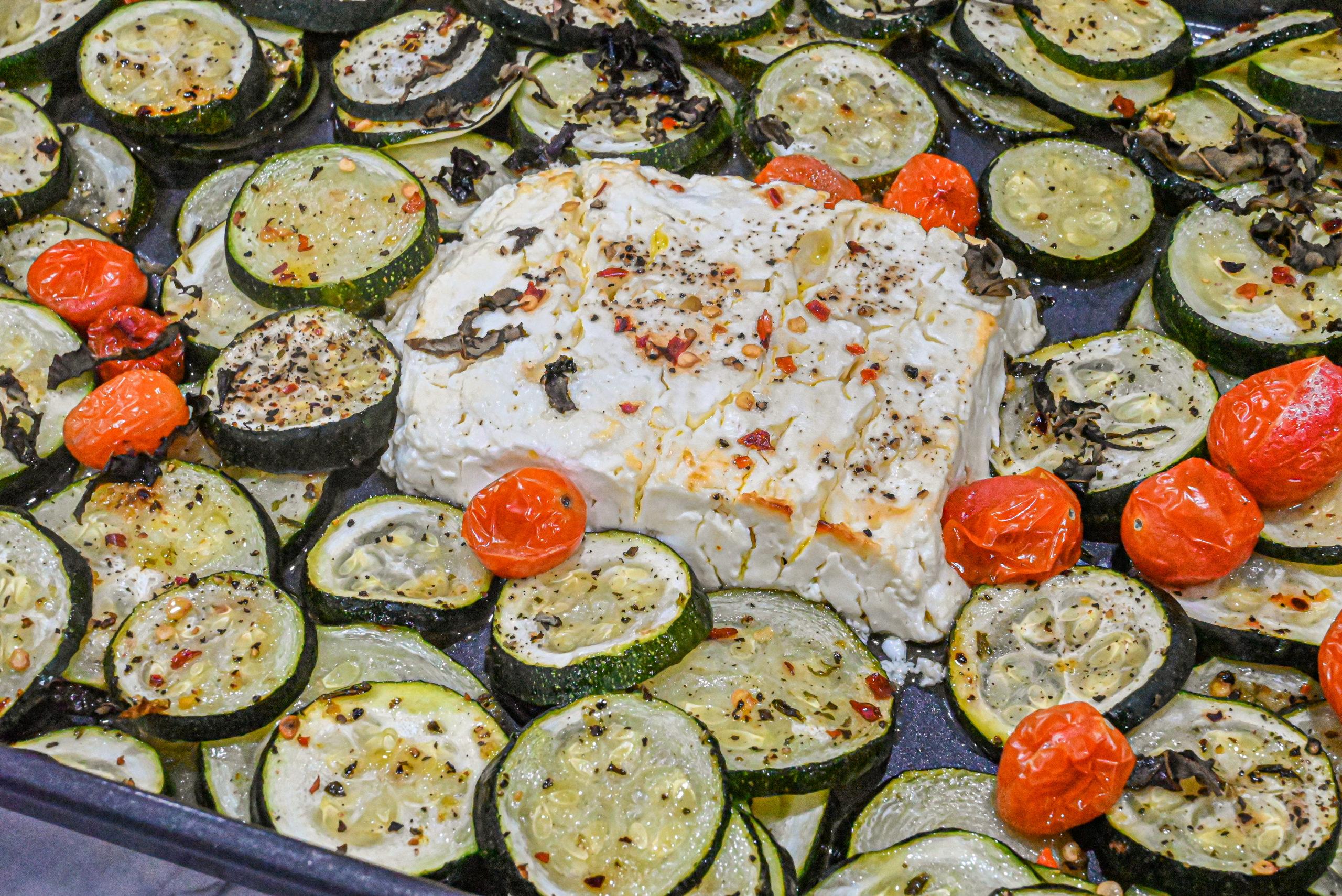 keto baked feta zucchini on bakng sheet