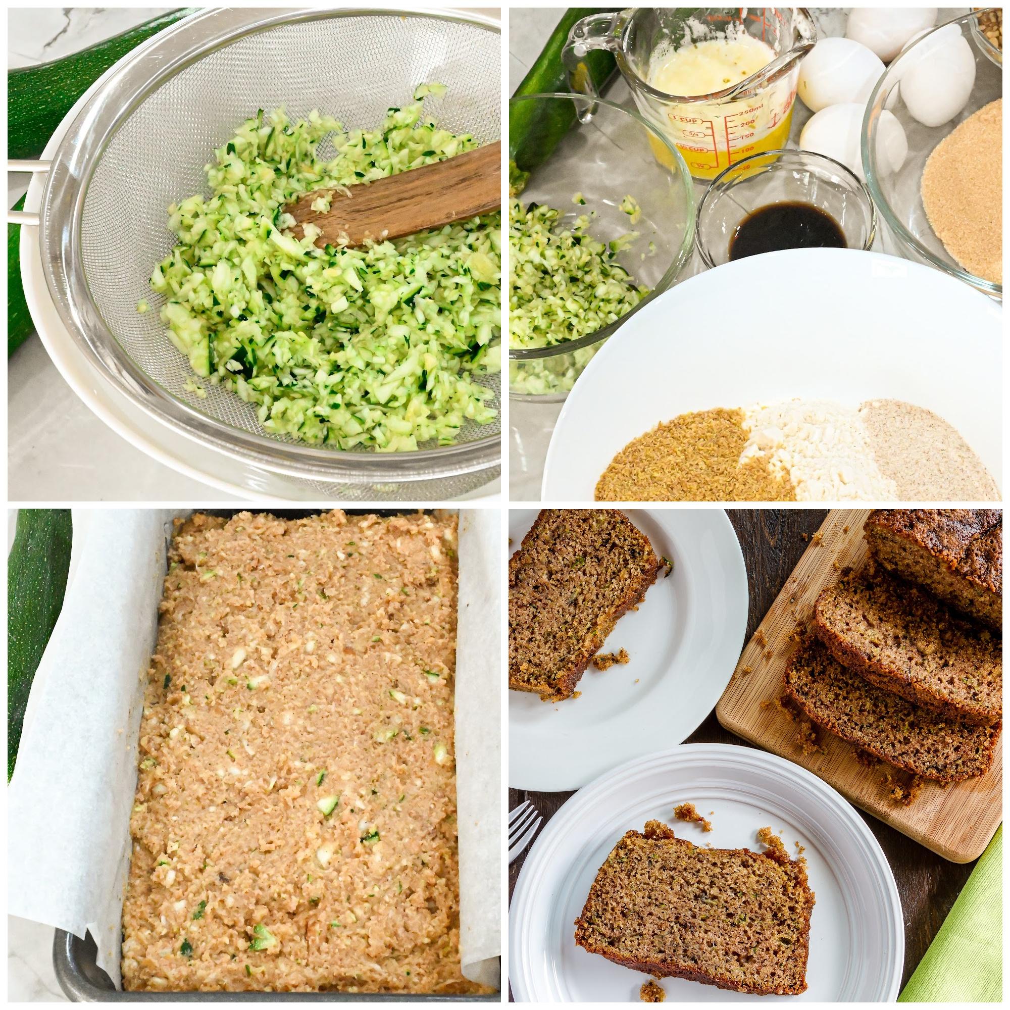 keto coconut flour zucchini bread process pictures