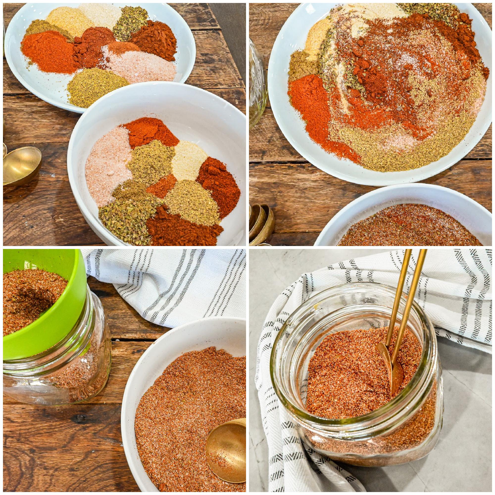 keto fajita seasoning process collage