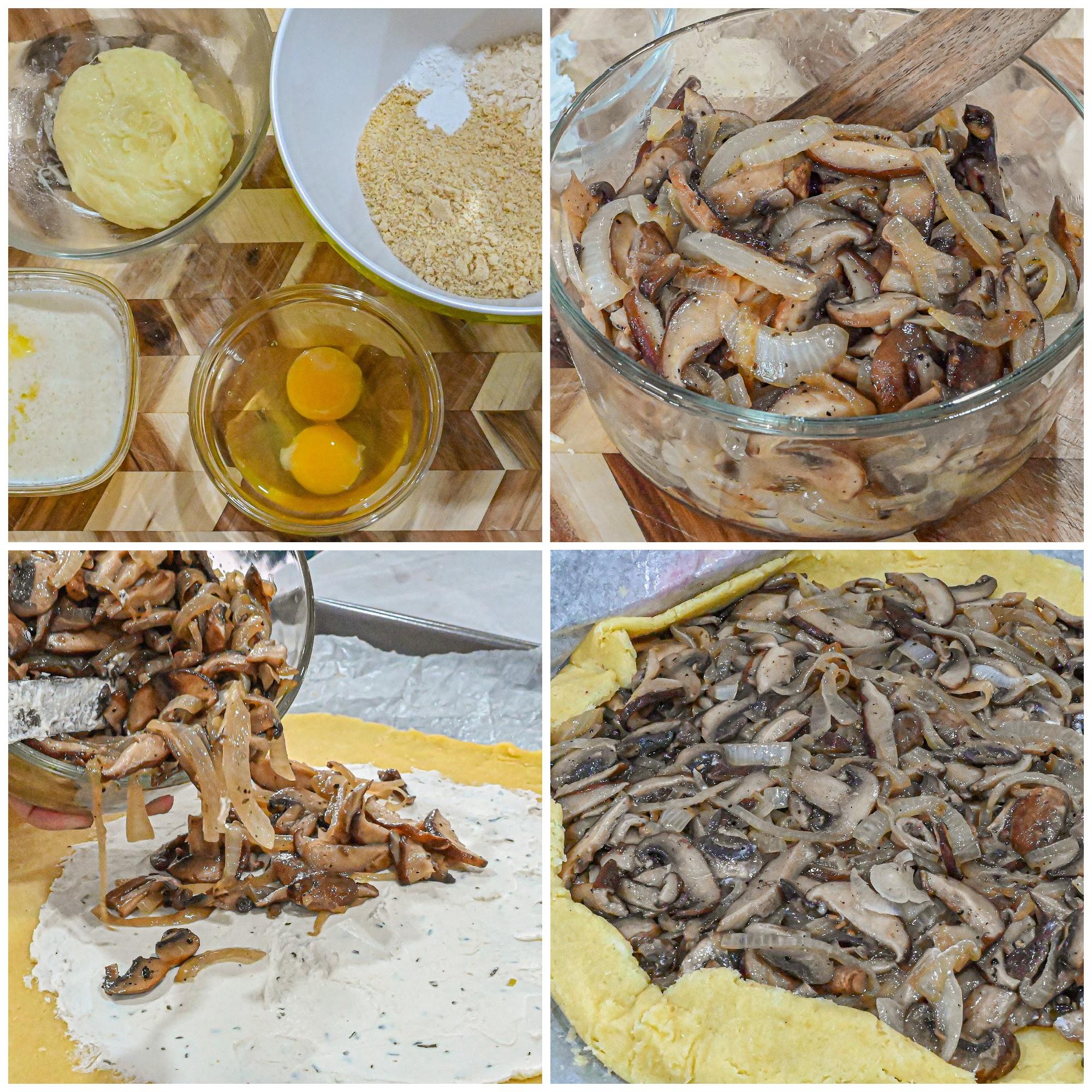 keto mushroom galette process collage