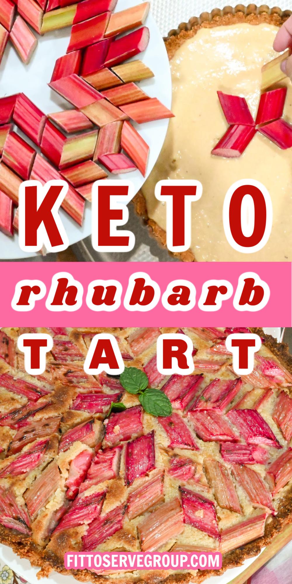 keto rhubarb tart with frangipane filling