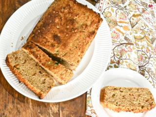 keto zucchini bread sliced and served