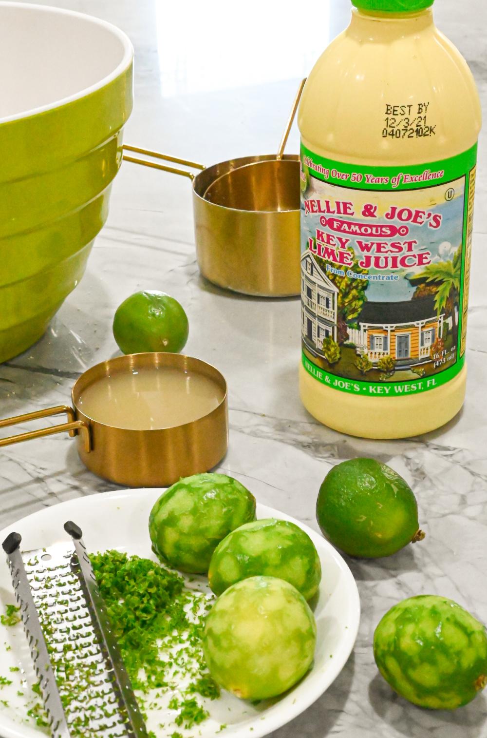 key lime juice and key lime zest